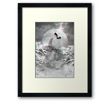 Maybe the Wolf Is In Love with the Moon v.2 (Actual 3D Effect) Framed Print