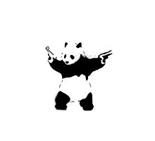 Bansky Panda - Plain Stencil Art White by Mark Walker