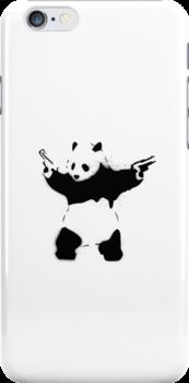 Bansky Panda - Plain Stencil Art White by Mark Walker