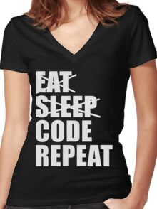 Eat Sleep Code Repeat Sport Shirt Funny Cute Gift For Computer Programmer Team Player Women's Fitted V-Neck T-Shirt