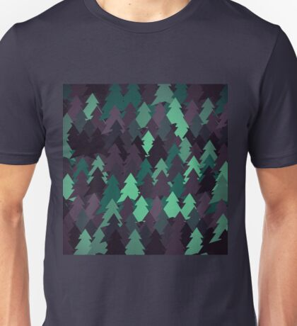 Green, brown and blue forest. Spruce forest illustration. Nature background of trees. Green trees texture. Wood drawings. Wanderlust. Adventure and nature Unisex T-Shirt