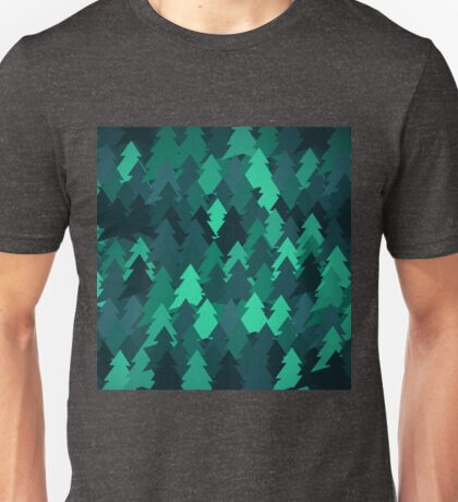 Spruce forest illustration. Nature background of trees. Green trees texture. Wood drawings. Wanderlust. Adventure and nature Unisex T-Shirt