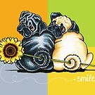Smile, They're Pugs by offleashart