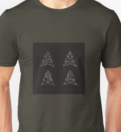 Geometric trees. Modern spruce illustration. Simple hipster design. Minimalist coniferous forest Unisex T-Shirt