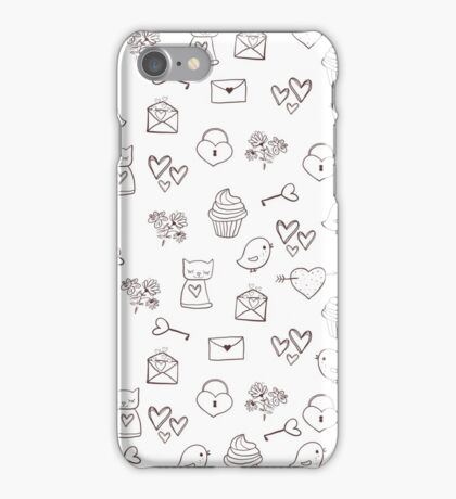 Cute cats, birds and love elements iPhone Case/Skin