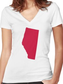 Canada Alberta Women's Fitted V-Neck T-Shirt