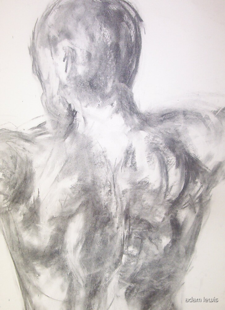 study of the back. charcoal on paper by adam lewis