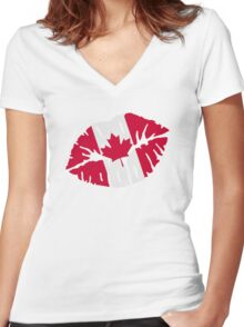 Canada flag kiss Women's Fitted V-Neck T-Shirt