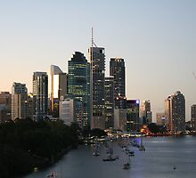 Brisbane at dusk by gpinniger