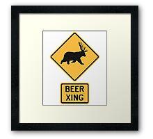 Bear Deer Beer Crossing Framed Print