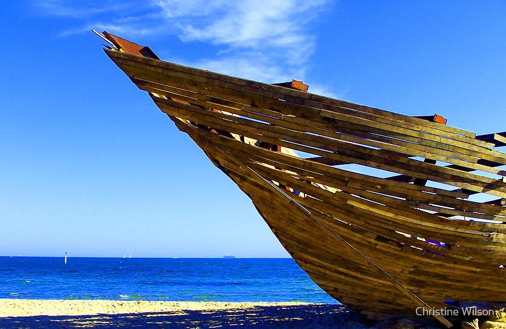 Wrecked  St Kilda Beach -Card   by Christine Wilson