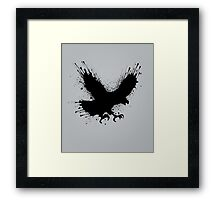 Abstract splashes of color - Street art bird (eagle / raven) Framed Print