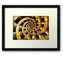 Steampunk - Clock - The flow of time Framed Print