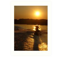 Knee Boarding at Sunset Art Print