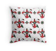 Christmas Crawfish Fleur de Lis Pattern Throw Pillow