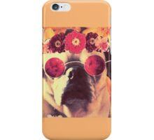 Flowered Hippie Pug iPhone Case/Skin