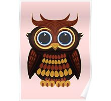 Friendly Owl - Pink Poster