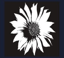 Black White Flower Kids Tee