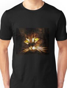Kitty cat glowing eyes fractal artwork Unisex T-Shirt