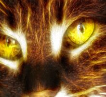 Kitty cat glowing eyes fractal artwork Sticker