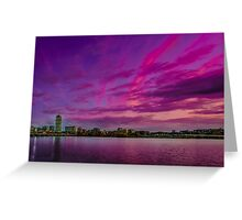 Sun dusk over Boston Greeting Card