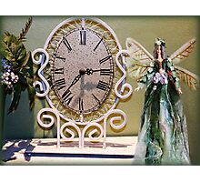 WROUGHT IRON DESIGN CLOCK PLANT & FAIRY DOLL PICTURE Photographic Print
