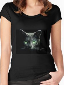 Kitty Cat eyes glow in the Dark Women's Fitted Scoop T-Shirt