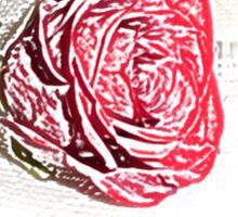 Red Rose Sketch Design Sticker