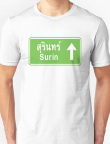 Surin, Isaan, Thailand Ahead ⚠ Thai Traffic Sign ⚠ T-Shirt