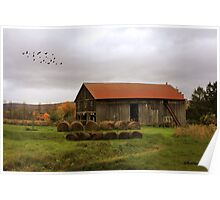 Hay Bales Near a Country Barn Poster