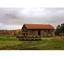 Hay Bales Near a Country Barn Photographic Print