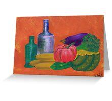Vegetables, bananas & glass bottles Greeting Card