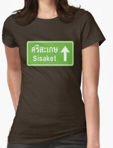 Sisaket, Isaan, Thailand Ahead ⚠ Thai Traffic Sign ⚠ Womens Fitted T-Shirt