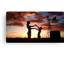 Silhouette Playing... Free State, South Africa  Canvas Print