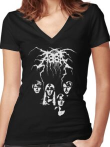 ABBA Black Metal Women's Fitted V-Neck T-Shirt