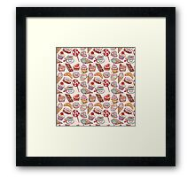 Hand drawn confectionery seamless pattern croissant Cupcake candy marshmallow ice cream cake donut and coffee Framed Print