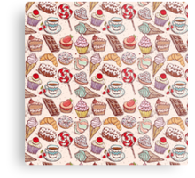 Hand drawn confectionery seamless pattern croissant Cupcake candy marshmallow ice cream cake donut and coffee Metal Print