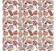 Hand drawn confectionery seamless pattern croissant Cupcake candy marshmallow ice cream cake donut and coffee Photographic Print