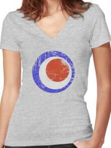drunken mod distressed Women's Fitted V-Neck T-Shirt