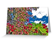Bright and Vivid Blossoms Against Blue Sky Greeting Card