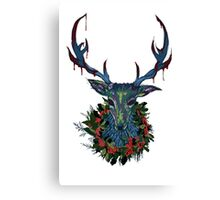 Deck the RavenStag with Boughs of Holly Canvas Print