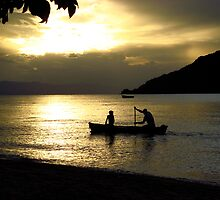 Sunset over Lake Malawi by Tim Hughes