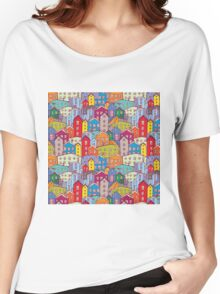 Cityscape seamless pattern. Sketch.  Women's Relaxed Fit T-Shirt
