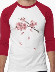 Cherry Blossom Branch Men's Baseball ¾ T-Shirt