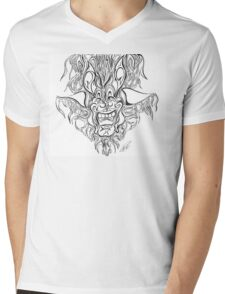 Abstract Face Flame Design Mens V-Neck T-Shirt
