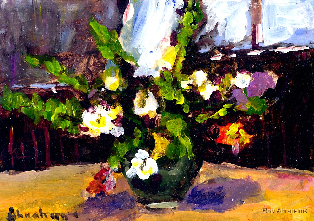 FLOWERS ON KITCHEN TABLE  by Bob Abrahams