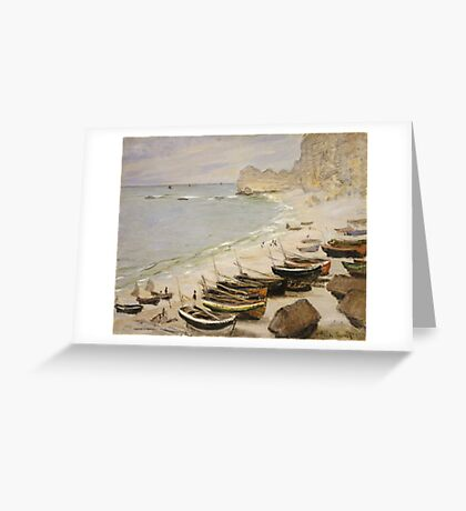 Claude Monet - Boat On The Beach At Etretat Greeting Card