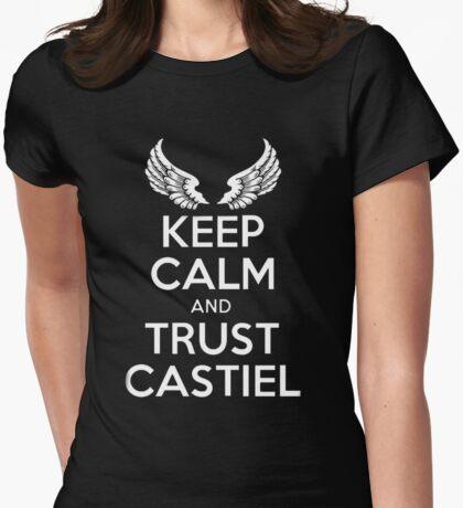 keep Calm Castiel Supernatural  Womens Fitted T-Shirt