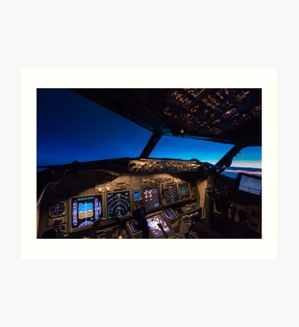 Boeing 737 Cockpit at sunrise Art Print