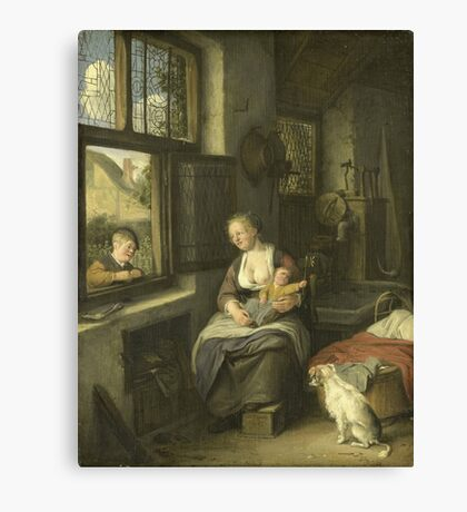 Cornelis Dusart - A Mother With Her Children Canvas Print